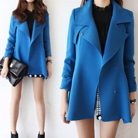 Autumn medium-long british style clothing turn-down collar double breasted outerwear female small wind overcoat