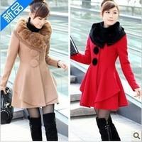 2013 medium-long women's rabbit fur overcoat women's autumn and winter slim woolen outerwear