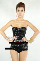 2013 New Arrival Lady gaga costume female singer ds paillette tube top slim jumpsuit 8296  Free Shipping