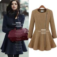 2013 women's fashion star style elegant oblique zipper slim long-sleeve dress wool coat
