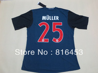 BEST Thailand  quality  2013-2014  Bayern away Blue MULLER 25  RIBERY 7  soccer jerseys  football   sports shirt  Free shipping