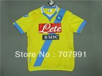 2013-14 New Arrivals High Thailand Quality Ssc Napoli Higuain Hamsik Third Away yellow Football Soccer Jerseys Uniforms Shirts