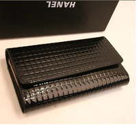 2013 black genuine leather female long design women's japanned leather wallet day clutch bags
