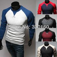 Hot sale Free Shipping Men's Shirts Raglan sleeve design fashion long-sleeved t-shirt metrosexual man necessary self-cultivation