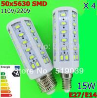 E27 E14 B22 5630 SMD 50-LED 15W LED Corn bulb Light Pure/Warm/Cool White AC 110V/220V Led home lighting