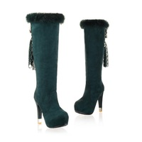 women's high heel platform knee high boots cold weather snow booties shoes CC003