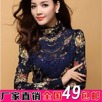 2013 new arrival women lace shirt/female slim chiffon blouse/t-shirt plus size free shipping
