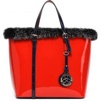 Women's handbag big bag 2013 women's handbag japanned leather shoulder handbag rabbit fur tb136-88749
