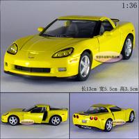1:36 kinsmart Chevrolet corvette z06 yellow alloy car model boy childred toy model free air mail