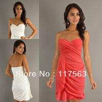 Wholesale sweetheart pleats chiffon coral bridesmaid dress brides maid dress cheap BD066