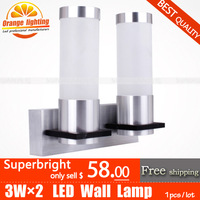 Decoration high-quality goods 6W LED Wall Lamp,superbright,AC85-265V,CE&ROHS,Aluminum lamps,bedroom lamp,Corridor,Free shipping