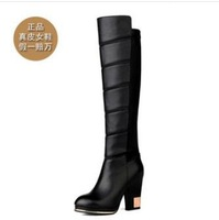 size34-39 2013 fashion women's side zipper black autumn winter european thick high-heeled over-the-knee long boots 178
