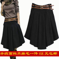 Autumn and winter woolen short skirt bust skirt pleated skirt plus size thickening expansion skirt over-the-knee female full