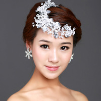 Free Shipping White Pearl Crystal Handmade Hairwear , Wedding Bride Flower Headband Bridal Hair Accessories