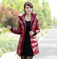 Coat Patent Leather Medium-long Slim white duck  outerwear Personality Parka Womens Thickening  Jacket Winter Down Coat