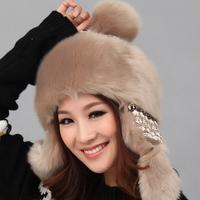 Hat for women winter fashion faux rabbit fur lei feng cap warm winter hats ear protector cap knitted hat,free shipping
