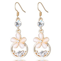 New Arrival flower dangle earrings hook style gold cat eye jewelry earrings retail free shipping