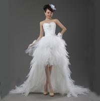 [CRAZY SELL] New Arrival Irregular shape white lace dress for women Wedding Dress