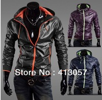 2013 Korean men fast drying zipper hit the color ultra-thin male hooded jacket