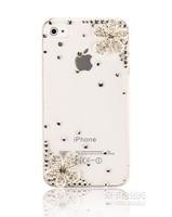 Free shipping New Bling Handmade Diamond Rhinestone transparent dustproof case for iphone4 4s 5 5s