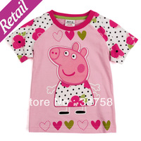 Retail Nova peppa pig girls t shirts baby & girl summer  clothing printed cartoon  baby cute girls t shirts K4045#