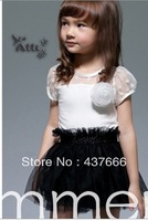 Top dress new Black and white color matching detonation girls bud silk  of foreign trad