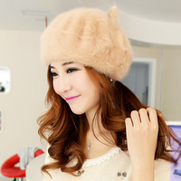 Princess hat autumn and winter street cap warm hat women's rabbit fur painter cap beret