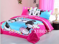 3 or 4pcs Honey Kissing Mickey & Minnie Mouse Bedding Set Fabric Duvet Doona Cover Set Bedroom Sets Queen Full Twin Sz, Magenta