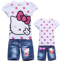 [CHINABOB]2014 New children Hello kitty set baby girls summer 2pcs suits kid's short sleeve t-shirt tee + jeans pants set