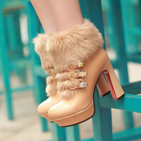 Fashion boots fur one piece high-heeled boots faux metal buckle thick heel platform boots
