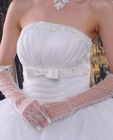 Dear Lover High Quality Elbow Length White Lace Bridal Wedding Party Lattice Formal Long Gloves