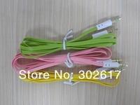 3.5mm Plug Jack Audio Flat Extension Cable 10 colors Fedex Free shipping, 2000pcs/lot