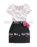top girl dreess good dress Summer dress Hello Kitty Bow dress lace girls tight dress baby girl dress Hello Kitty kids clothing