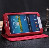 Free Shipping Luxury Flip Stand Full Leather Book Cases Smart Cover For Samsung Galaxy Tab 3 7.0 T210 T211 P3200 P3210 Protector