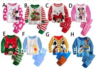Wholesale 5 Sets Mickey Minnie Mouse Cartoon Children's Long Sleeve Pajama Set Baby Kid's Unisex Homewear Sleepwear