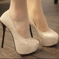 size 35-39  ladies pumps. 14cm high heels shoes.black,gold party shoes platform pumps princess sequin wedding shoes hh1066
