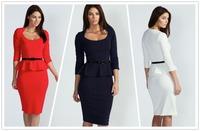 combinaison women vestido de praia  Womens Long Sleeve Belted Peplum Knee Length Frill Bodycon Dress Solid informal  clothing