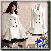 Slim Casual Women's Wool cashmere Coats double breasted trench Fashion long coat  C05010