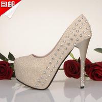 Fashion rhinestone single shoes gold 14cm ultra high heels thin heels single shoes black princess wedding shoes