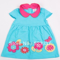 FREE SHIPPING H2829# 18m/6y baby girls floral dress with embroidery