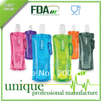 100PCS/CTN, Portable Folding Sports Water Bottle Foldable Bottles Outdoor Sport Bag 16Oz FDA Approved BPA Free,FREE SHIPPING