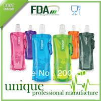 100PCS/CTN, Portable Folding Sports Water Bottle Foldable Bottles Outdoor Sport Bag 16Oz FDA Approved BPA Free,FREE SHIPPING