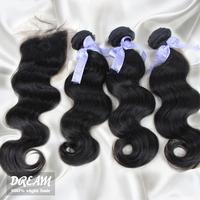 Brazilian body wave hair and free part lace closure mixed natural color 100% virgin hair free shipping