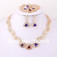 christmas  red purple blue Dubai indian18K Gold Plated wholesale rhinestone jewelry set Bridal accessories wedding Jewelry set