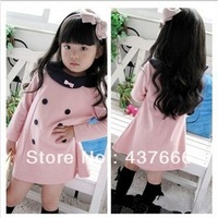Korea fashion baby girls dress cute pink color 3 - 7 years children's kids fashion dress Hot sale kid's dress