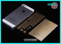 Hot sale luxury gold color screen protector with bumper stickerks for Apple iphone 5,5s,50pcs back+50pcs bumpers ,free shipping