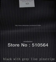 Free shipping 150s 100% worsted wool Custom made suit Men black with grey pinstripe Suit Three pieces Suit(jacket+pant+vest )