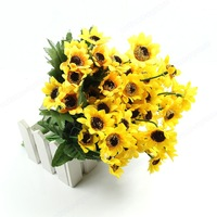 New Beautiful Artificial Sunflowers Bouquet Flowers Home Decoration Gift Free Shipping