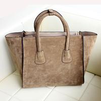 Free Shipping hot selling women's leather handbag shoulder bag fashion brand designer nubuck leather smiley tote bags vintage