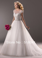 New arrival cap sleeve floor length A line lace Bubble TM1983 wedding dress 2014